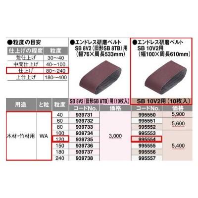 HiKOKI 研磨ベルト 10枚入 995554 木材・竹材用 120番 100x610 日立工機