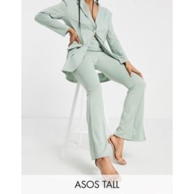 エイソス レディース カジュアルパンツ ボトムス ASOS DESIGN Tall ponte 3 piece sporty suit flare pants in green Green