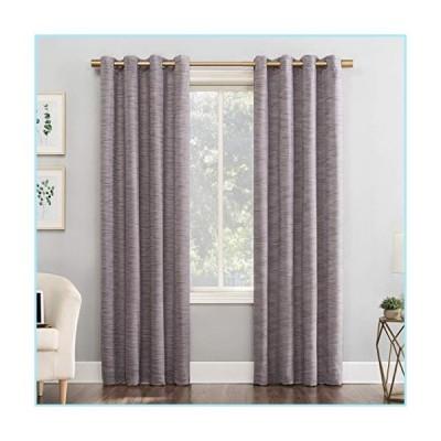 """新品Sun Zero Kendrick 2-Pack Woven Stri〓 Thermal Extreme 100% Blackout Grommet Curtain Panel Pair, 50"""" x 84"""", Fig"""