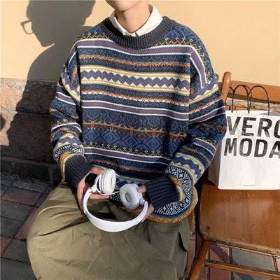 秋冬の日系ヴィンテージセーターメンズ韓国スタイルの個性的なニット裏地のシャツINSゆったりとした怠惰なジャケット