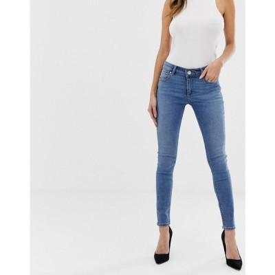 エイソス ASOS DESIGN レディース ジーンズ・デニム ボトムス・パンツ Whitby low rise skinny jeans in mid wash blue Mid blue