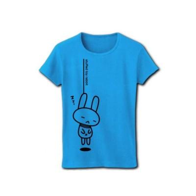 stuffed toy rabbit(首吊り02B) リブクルーネックTシャツ(ターコイズ)
