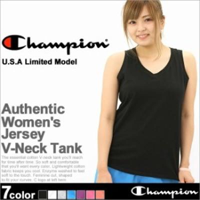 チャンピオン タンクトップ Vネック レディース 大きいサイズ USAモデル ブランド ノースリーブ ロゴ アメカジ ルームウェア Champion