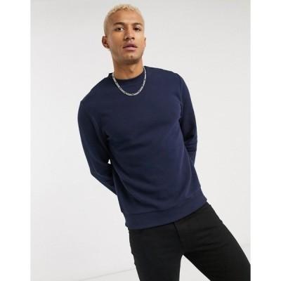 エイソス メンズ パーカー・スウェットシャツ アウター ASOS DESIGN sweatshirt in navy rib Navy