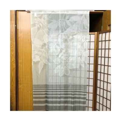 のれん ロング丈 「グリーンリーフ」 レース 薄手 中国製 暖簾 薄緑 ライトグリーン フリーカット 雑貨 85cm×150cm インテリア プレゼント