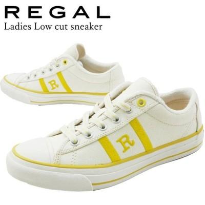リーガル REGAL ローカットスニーカー レディース BE58 レースアップシューズ 刺繍 ロゴ パイル地 キャンバス キャンパス 黄色 イエロー 靴