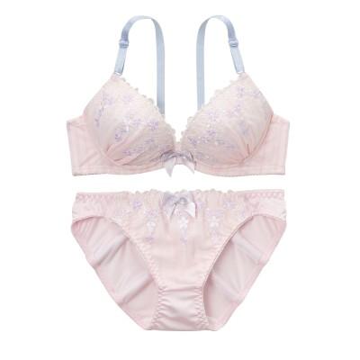 ロマンティカストライプシフォン ブラジャー。ショーツセット(B85/LL) (ブラジャー&ショーツセット)Bras & Panties