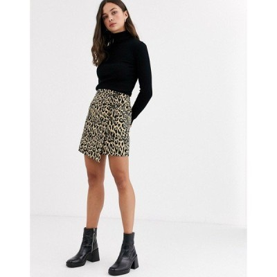 エイソス レディース スカート ボトムス ASOS DESIGN mini wrap skirt in leopard print with button detail Leopard print