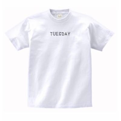 文字 Tシャツ TUESDAY 白