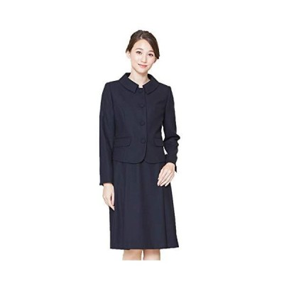 [B-GALLERY] お受験アンサンブル ステンカラージャケット&ワンピース 濃紺 日本製 ウール100% ネイビー 7号13号
