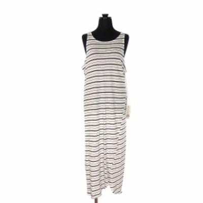 【中古】未使用品 ベイシーク bassike stripe tubular tank dress ロング ワンピース チュニック S ホワイト/ブラック