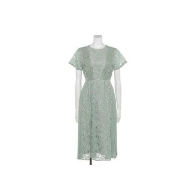 【Rewde】サイドプリーツレースドレス(0R04-84742) (グリーン)
