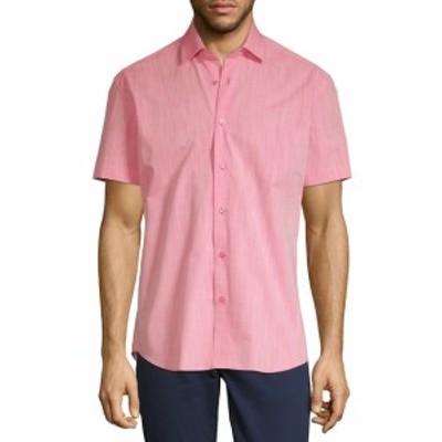 ベルティゴ メンズ カジュアル ボタンダウンシャツ Short-Sleeve Cotton Button-Down Shirt