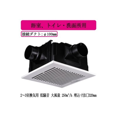 FY-32CTS8V Panasonic 天井埋込形換気扇 2〜3室換気用 ルーバーセット 大風量形 3段速調付 浴室、トイレ・洗面所用 低騒音形 吸込みグリル(子機)2個付属