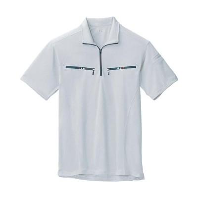 ジーベック(XEBEC) 半袖ジップアップシャツ 22/シルバーグレー 6160 作業服 作業着 ワークウエア ワークウェア メンズ レディース