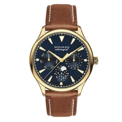 モバード レディース 腕時計 アクセサリー Movado Heritage Leather Cognac Strap Watch