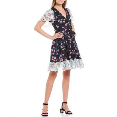 ベッツィジョンソン レディース ワンピース トップス Two Tone Floral V-Neck Flutter Sleeve Tie Waist Ruffle Hem Dress Black Multi