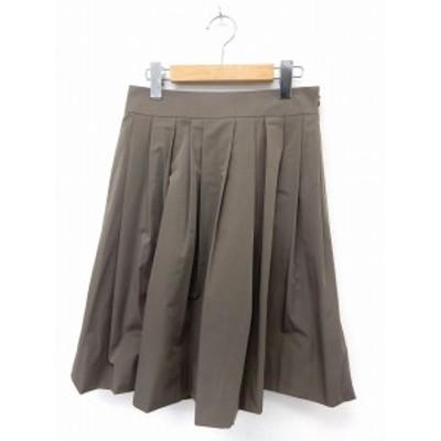 【中古】エムプルミエ ブラック M-Premier BLACK スカート 膝丈 フレア サイドジップ シンプル 38 茶 ブラウン /ST24