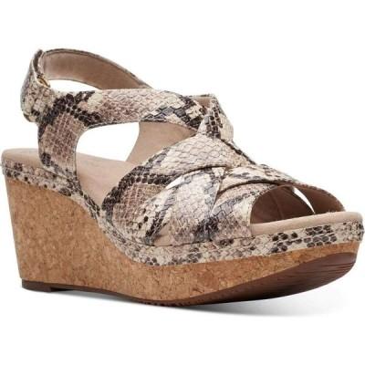 クラークス Clarks レディース サンダル・ミュール ウェッジソール シューズ・靴 Collection Annadel Rayna Wedge Sandals Taupe Snake