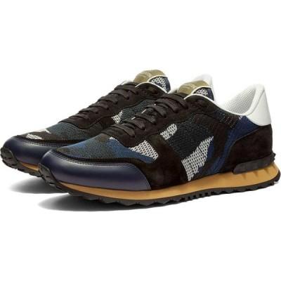 ヴァレンティノ Valentino メンズ スニーカー シューズ・靴 knit rockrunner sneaker Navy/Black/White