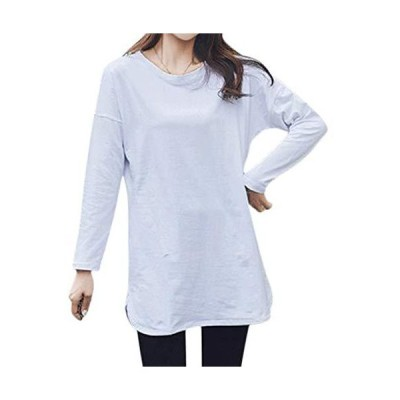 [ユーミート] Tシャツ 長袖T 長袖 ロングTシャツ ロンT ビッグTシャツ ビッグT かじゅある コットン 綿100 綿 スリット スポーティ 白