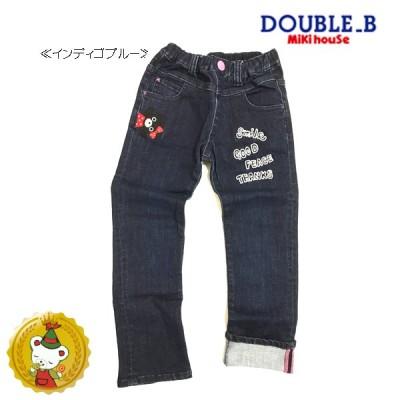 ダブルB(DOUBLE_B)B子ちゃんアップリケ&刺繍デニムパンツ(インディゴブルー)120cm・130cm