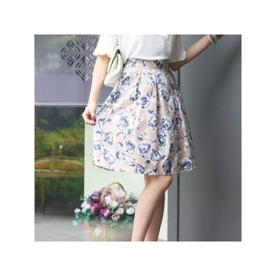 フレアスカート 花柄 ボタニカル柄 スカート