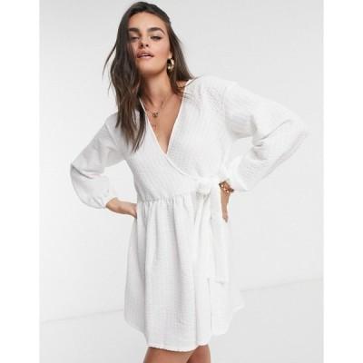 エイソス レディース ワンピース トップス ASOS DESIGN smock oversized mini wrap dress in ivory Ivory