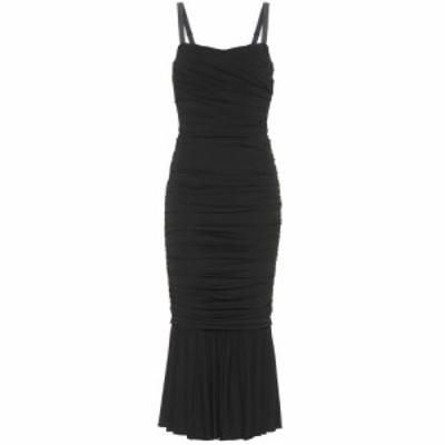 ドルチェandガッバーナ Dolce and Gabbana レディース ワンピース ミドル丈 ワンピース・ドレス Silk-blend jersey midi dress Black