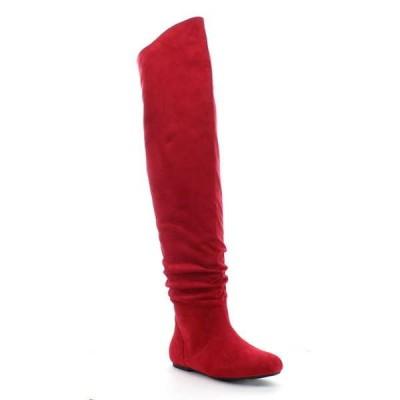 ブーツ シューズ 靴 海外厳選ブランド DA VICCINO TOP-01-HI レディース Slouch サイズ ジッパー フラット Tigh ハイ ブーツ RED