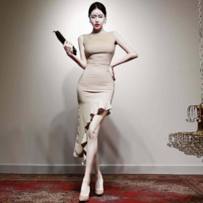 レディース ワンピース スリット スリム セクシー お呼ばれ パーティー フリル裾 綺麗め 大人 ノースリーブ
