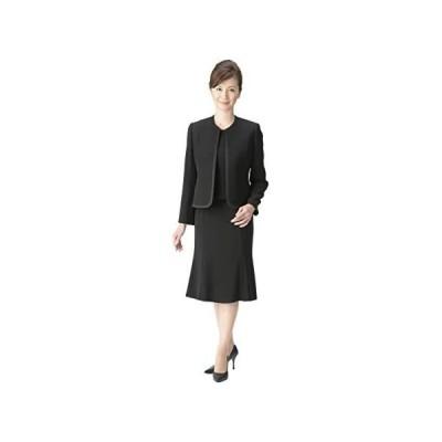 (マーガレット)m415 ブラックフォーマル レディース 喪服 アンサンブル 前開きワンピース 礼服 冠婚葬祭 (ブラック 19 号)
