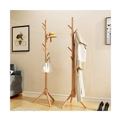 ポールハンガー 木製 コートハンガー ハンガーラック スリム コート掛け バッグ掛け かばんかけ 枝型設計 組立て簡単 安定感が抜群 高さ1