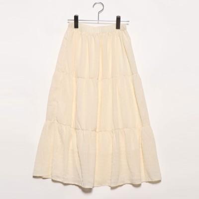 プライベートビーチ privatebeach ギャザリング 楊柳ティアードスカート (アイボリー)