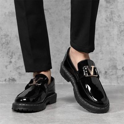 メンズ ローファー 紳士靴 モカシン 革靴 通勤 通学 ビジネスシューズ エナメル 黒 オシャレ 男子靴