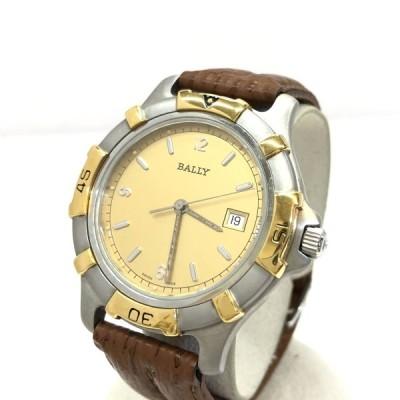 中古 BALLY バリー 腕時計 アナログ クォーツ 73.04 シルバー ゴールド デイト 回転ベゼル 文字盤ゴールド RY4747