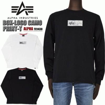 ALPHA アルファ TC1430 BOX-LOGO CAMO プリントロンT メンズ 長袖Tシャツ alpha