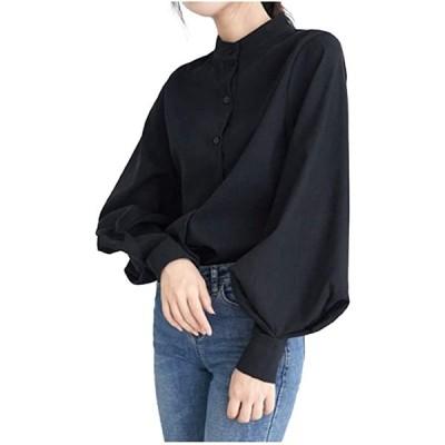 LG190 BK 黒色 くろ クロ 可愛い かわいい トップス スタンダードカラー シャツ(ブラック, S)