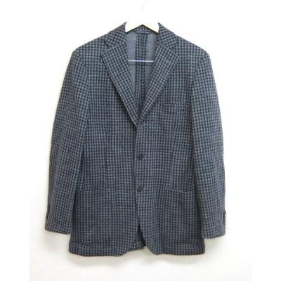 Blu e Grigio by Ring Jacket 千鳥格子 ウールジャージー テーラードジャケット グレー×紺 175cm-4Drop リングジャケット ブレザー