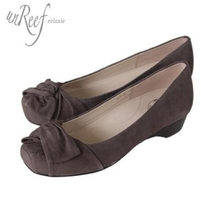 unReef アンリーフ 靴 3414 パンプス オブリークトゥ スクエアトゥ スエード ウェッジヒール ブラウン オーク レディース セール