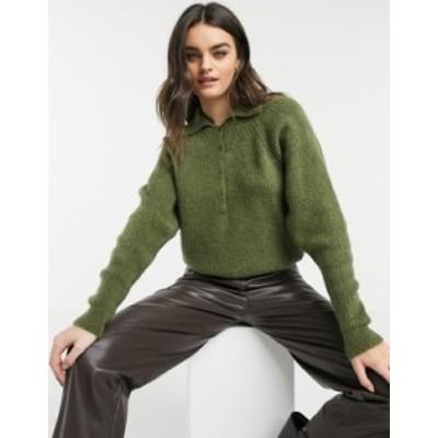 エイソス レディース ニット・セーター アウター ASOS DESIGN polo sweater with collar detail in khaki Khaki