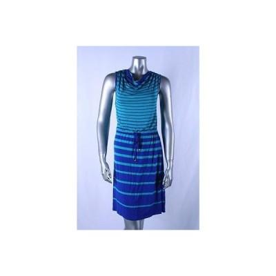 海外セレクション ドレス ワンピース フォーマル Spense マルチ ブルー Petite Cowl Neck ストライプド 巾着バッグ ドレス PS 79LAFO