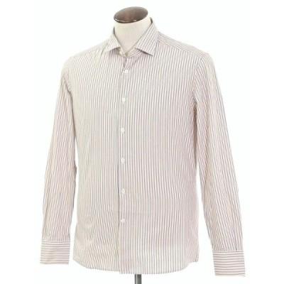 グランシャツ Glanshirt コットン ストライプ セミワイドカラーシャツ ホワイト×ダークブルー×オレンジ 41