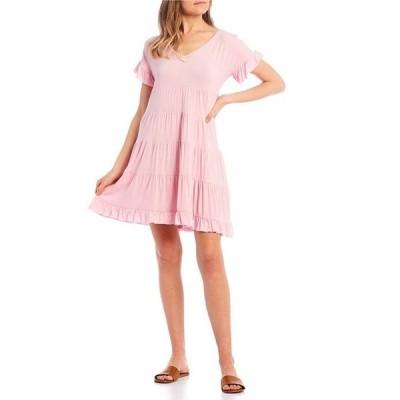 アンジー レディース ワンピース トップス Short Sleeve Tiered Babydoll Dress