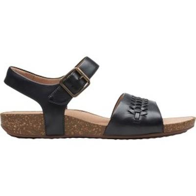 クラークス レディース サンダル シューズ Un Perri Way Sandal Black Leather