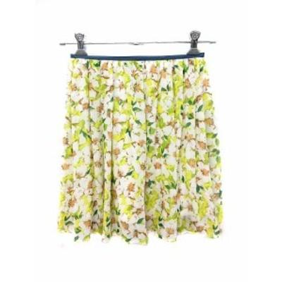 【中古】アーバンリサーチ URBAN RESEARCH スカート フレア ミニ 花柄 One 緑 グリーン 白 ホワイト /YK レディース