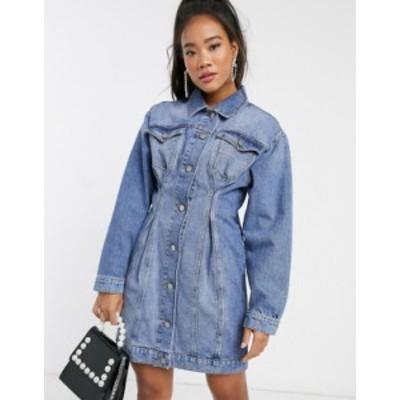 エイソス レディース ワンピース トップス ASOS DESIGN denim jacket dress with pinched front seams in mid wash blue Blue