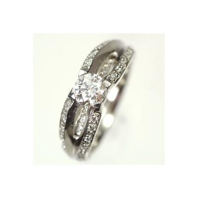 【ダイヤモンドリング鑑定付き】プラチナ・ダイヤモンド0.7ct(Hカラー・SI・GOOD・0.5ct・鑑定書付+0.2ct) エレガンスリング(指輪)