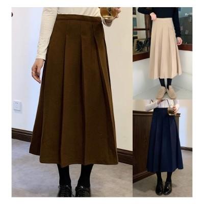 全3色 スカート 厚手 フリル 切り替え 体型カバー 着痩せ シンプル
