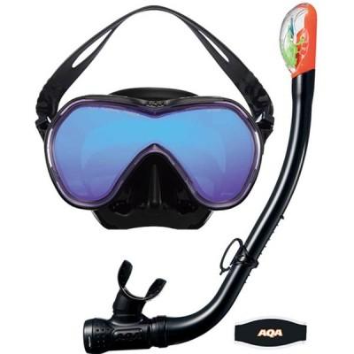 エーキューエー スノーケリング SET メンズ/レディース オルカソフトミラー & サミードライスペシャルシリコン KZ-9009-BKCP AQA